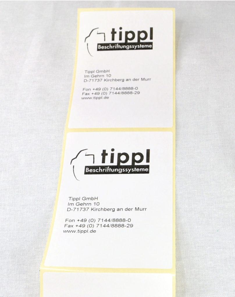 Beispiel Papieretiketten